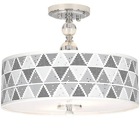 "Pointillism Giclee 16"" Wide Semi-Flush Ceiling Light"