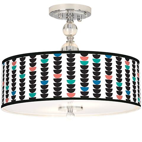 "Semi-Dots Giclee 16"" Wide Semi-Flush Ceiling Light"