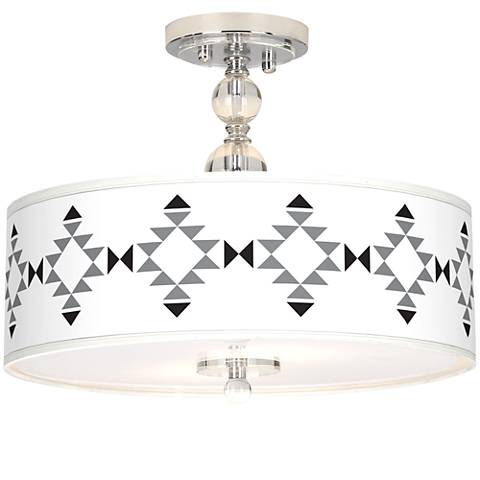 "Desert Grayscale Giclee 16"" Wide Semi-Flush Ceiling Light"