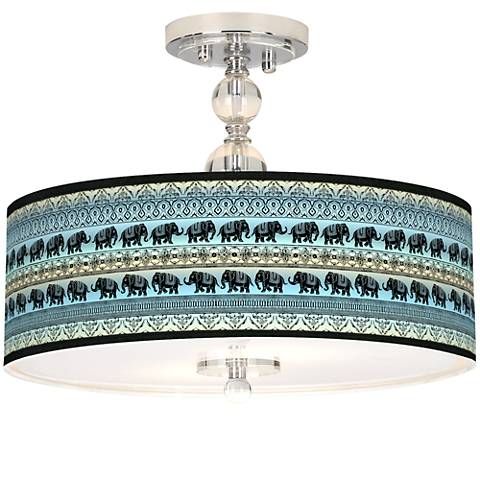 "Elephant March Giclee 16"" Wide Semi-Flush Ceiling Light"