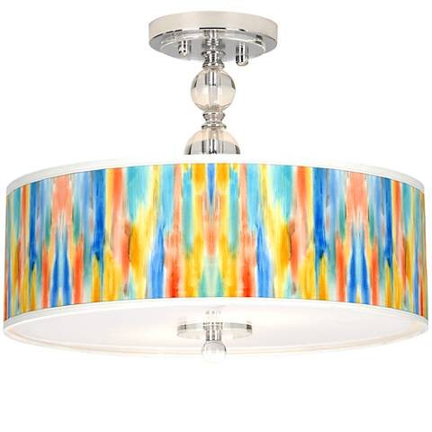 "Tricolor Wash Giclee 16"" Wide Semi-Flush Ceiling Light"