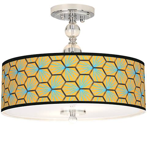 "Hexagon Starburst Giclee 16"" Wide Semi-Flush Ceiling Light"