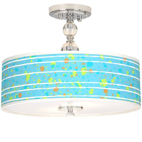 "Paint Drips Giclee 16"" Wide Semi-Flush Ceiling Light"