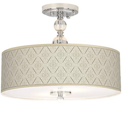 "Moroccan Diamonds Giclee 16"" Wide Semi-Flush Ceiling Light"
