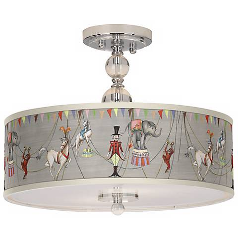 "Circus Time 16"" Wide Chrome Ceiling Light"