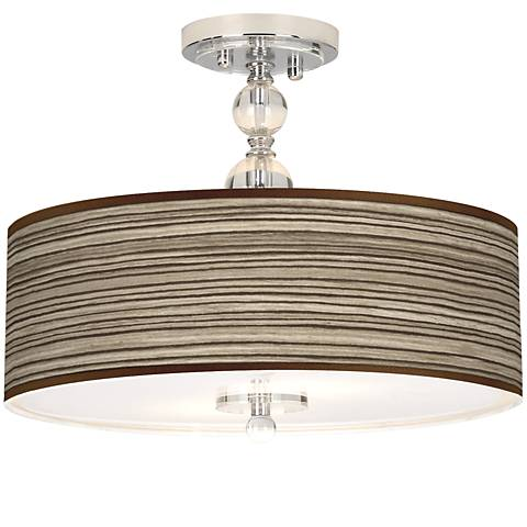 "Cedar Zebrawood Giclee 16"" Wide Semi-Flush Ceiling Light"