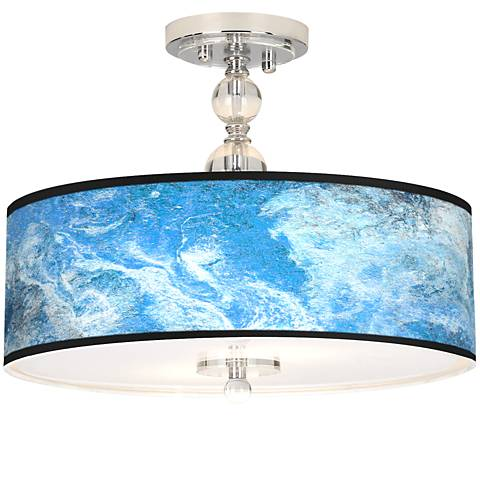 """Ultrablue Giclee 16"""" Wide Semi-Flush Ceiling Light"""
