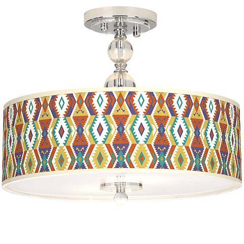 "Southwest Bohemian Giclee 16"" Wide Semi-Flush Ceiling Light"
