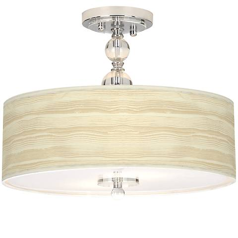 "Birch Blonde Giclee 16"" Wide Semi-Flush Ceiling Light"