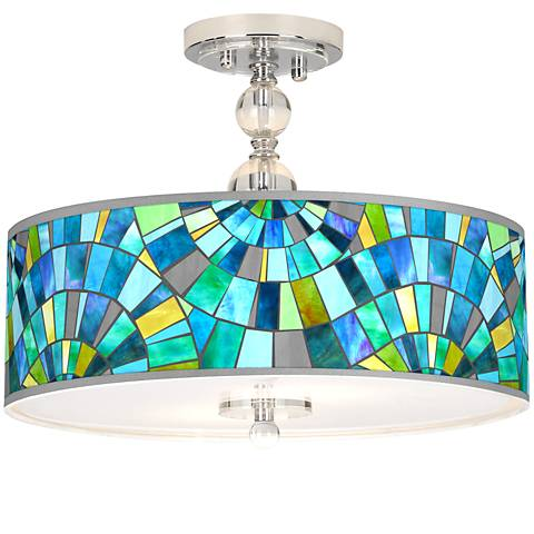 "Lagos Mosaic Giclee 16"" Wide Semi-Flush Ceiling Light"