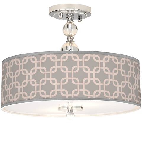 "Smoke Lattice Giclee 16"" Wide Semi-Flush Ceiling Light"