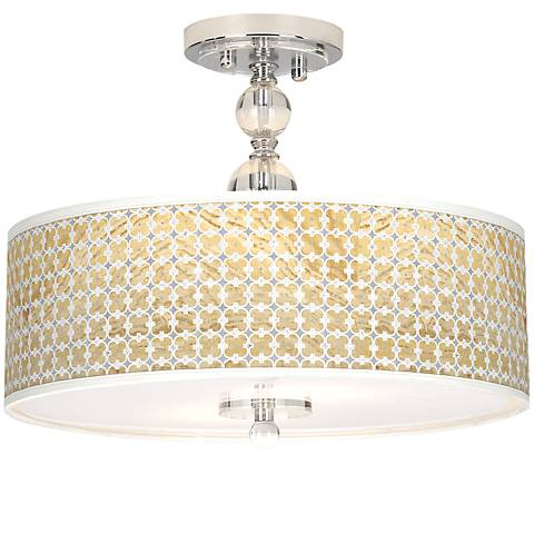 "Marble Quatrefoil Giclee 16"" Wide Semi-Flush Ceiling Light"