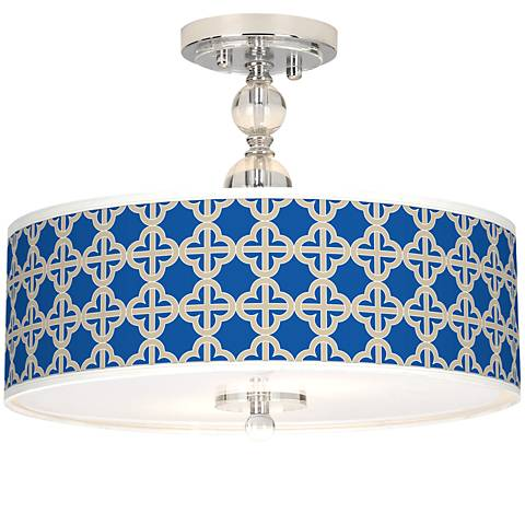 "Four Corners Giclee 16"" Wide Semi-Flush Ceiling Light"