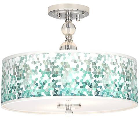 "Aqua Mosaic Giclee 16"" Wide Semi-Flush Ceiling Light"
