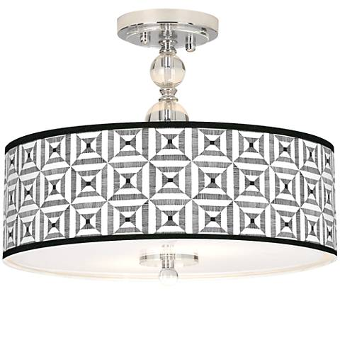 "Tile Illusion Giclee 16"" Wide Semi-Flush Ceiling Light"