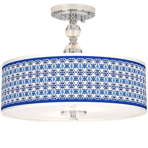 "Indigo Path Giclee 16"" Wide Semi-Flush Ceiling Light"