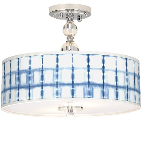 "Blue Mist Giclee 16"" Wide Semi-Flush Ceiling Light"