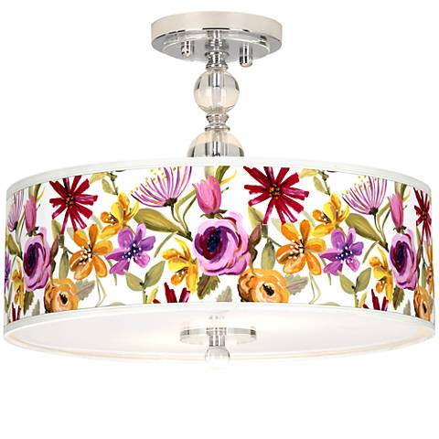"Bountiful Blooms Giclee 16"" Wide Semi-Flush Ceiling Light"