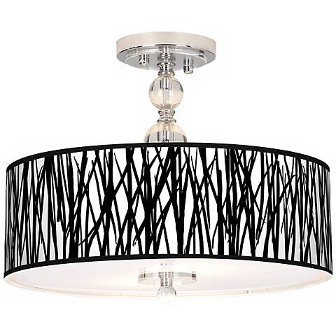 "Black Jagged Stripes 16"" Wide Semi-Flush Ceiling Light"
