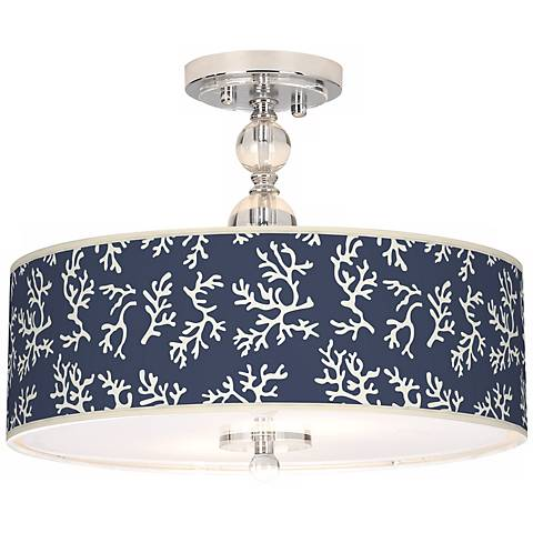 "Prussian Coral Giclee 16"" Wide Semi-Flush Ceiling Light"