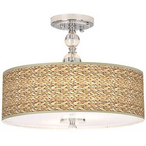 "Seagrass Giclee 16"" Wide Semi-Flush Ceiling Light"
