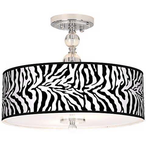 "Safari Zebra 16"" Wide Semi-Flush Ceiling Light"