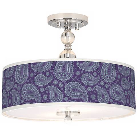 "Purple Paisley Linen Giclee 16"" Semi-Flush Ceiling Light"