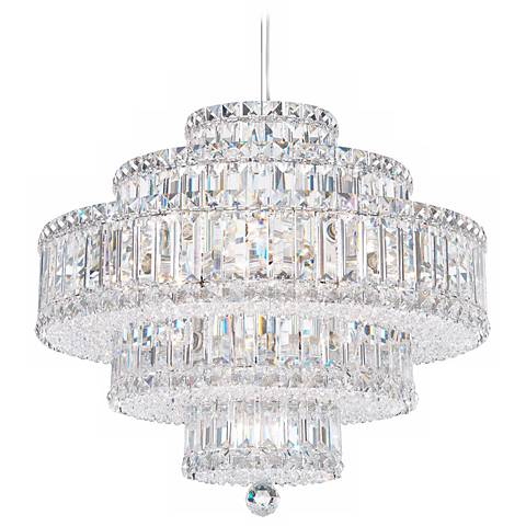 "Schonbek Plaza 21"" Wide Silver Swarovski Crystal Chandelier"
