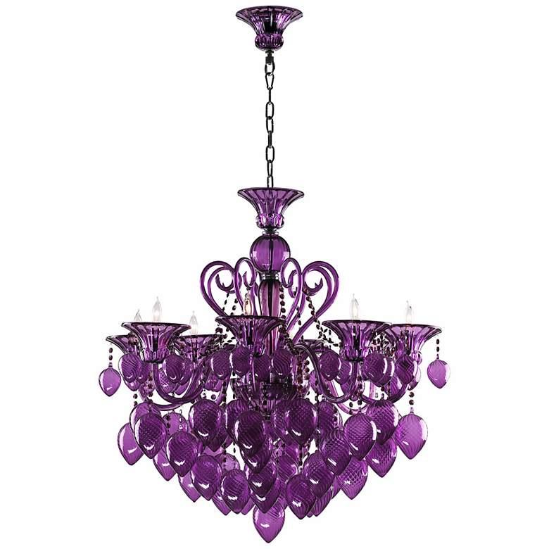 Bella Vetro Purple Glass Chandelier