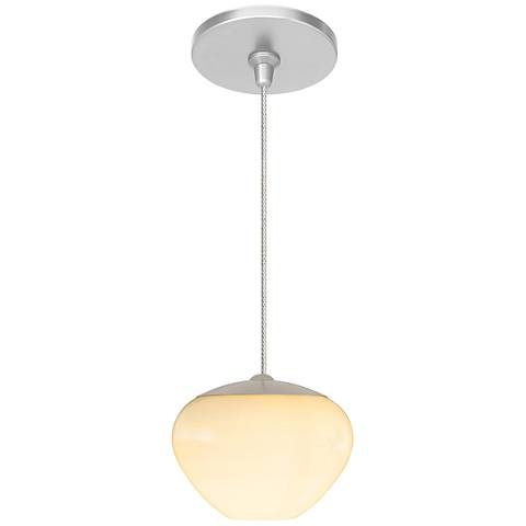 "Cylia 5 1/2"" Wide Satin Nickel Opal Glass LED Mini Pendant"