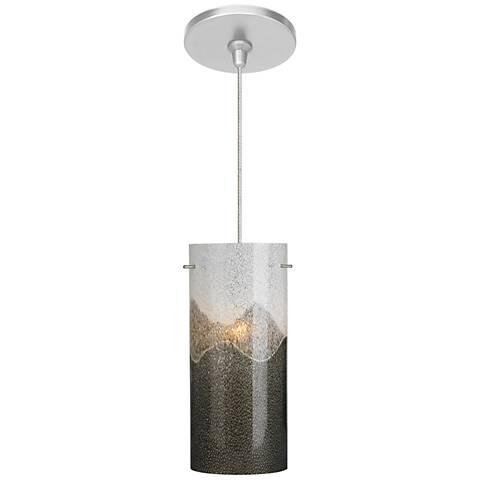 "Dahling 4 1/3""Wide Satin Nickel Gray Opal LED Mini Pendant"