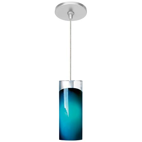 """LBL Horizon 3 1/4"""" Wide Satin Nickel Blue LED Mini Pendant"""