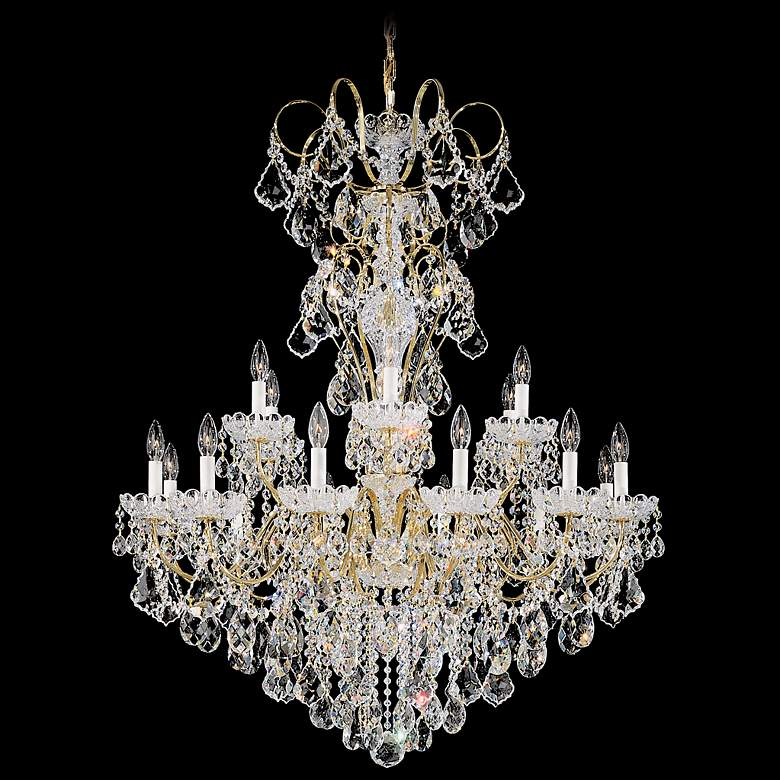 "Schonbek New Orleans 36""W Gold Hand-Cut Crystal Chandelier"