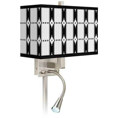 Tribal Weave Giclee Glow LED Reading Light Plug-In Sconce
