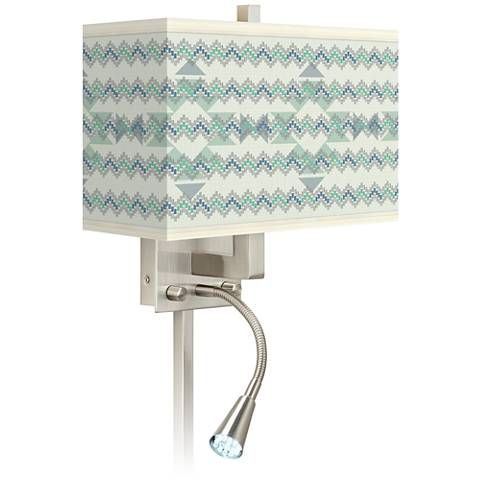 Triangular Stitch Giclee Glow LED Reading Light Plug-In Sconce