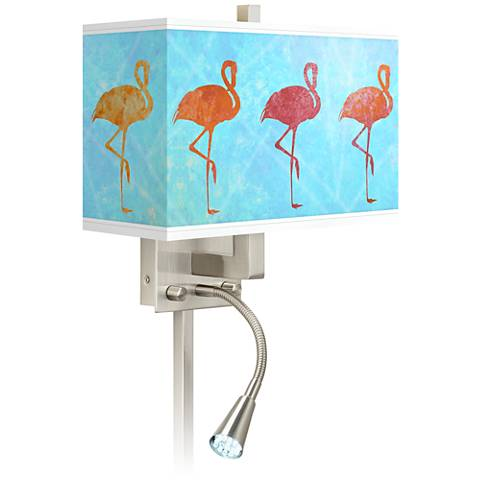 Flamingo Shade Giclee Glow LED Reading Light Plug-In Sconce
