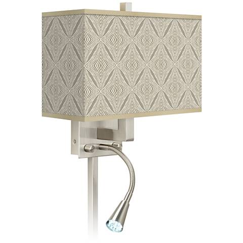 Moroccan Diamonds Giclee Glow LED Reading Light Plug-In Sconce