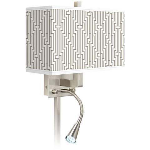 Diamond Maze Giclee Glow LED Reading Light Plug-In Sconce
