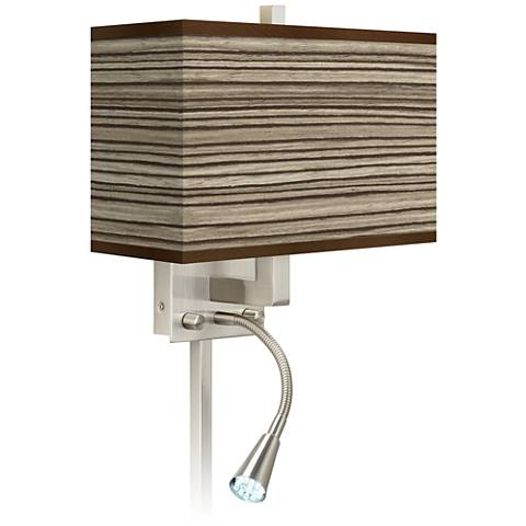 Cedar Zebrawood Giclee Glow LED Reading Light Plug-In Sconce