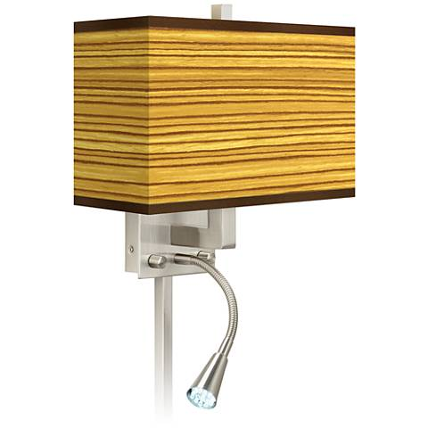 Tawny Zebrawood Giclee Glow LED Reading Light Plug-In Sconce