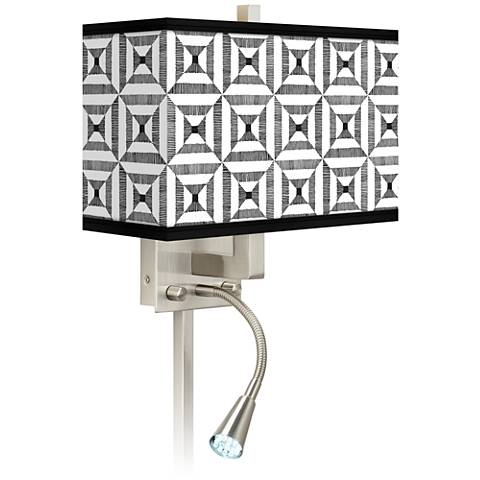 Tile Illusion Giclee Glow LED Reading Light Plug-In Sconce