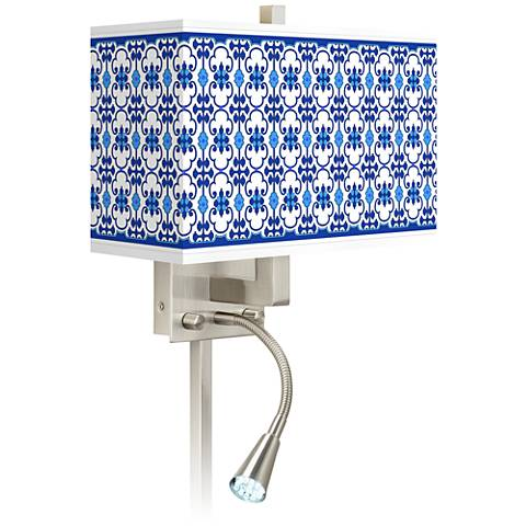 Indigo Path Giclee Glow LED Reading Light Plug-In Sconce