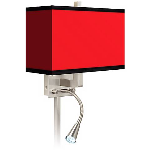 All Red Giclee LED Reading Light Plug-In Sconce