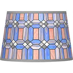 Blue tiffany lamp shades lamps plus asscher tiffany style tapered shade 13x16x105 spider aloadofball Gallery