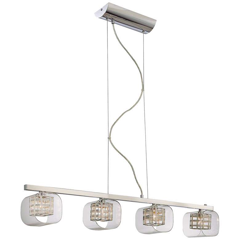 "Jewel Box 38 1/2"" Wide Chrome Kitchen Island Light Pendant"