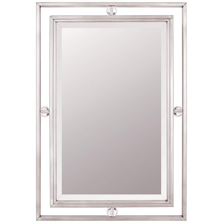 "Quoizel Downtown Collection Nickel 22"" x 32"" Wall Mirror"