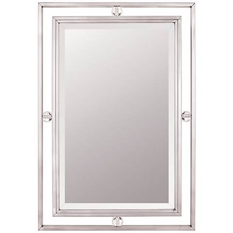 """Quoizel Downtown Collection Nickel 22"""" x 32"""" Wall Mirror"""