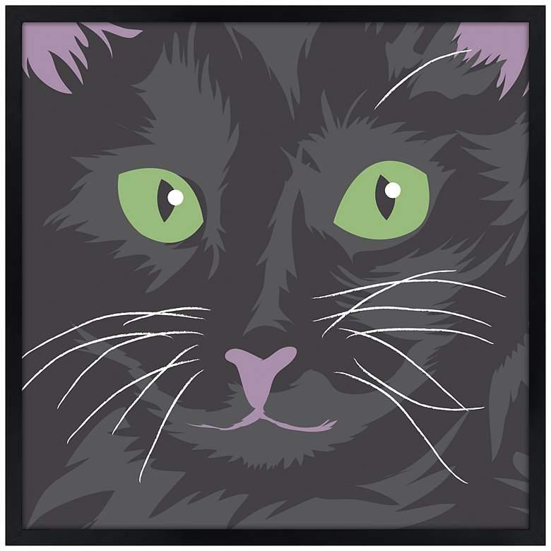 "Happy Cat 21"" Square Black Giclee Wall Art"