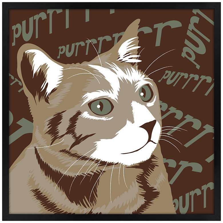"Purr 21"" Square Black Giclee Wall Art"