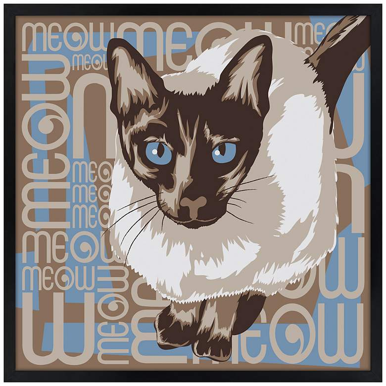 """Lunchtime Cat 21"""" Square Black Giclee Wall Art"""